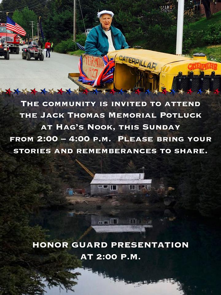 Memorial Potluck for Jack Thomas and Honor Guard – Sunday the 30th