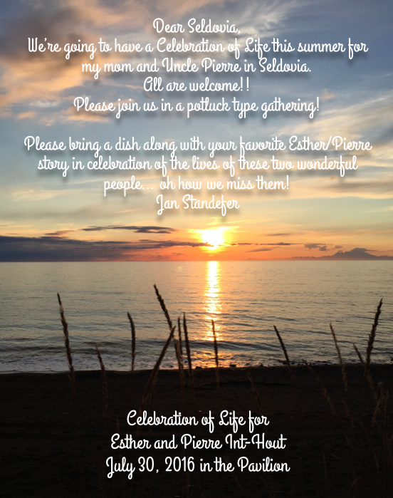 Celebration Of Life this summer for Esther & Pierre