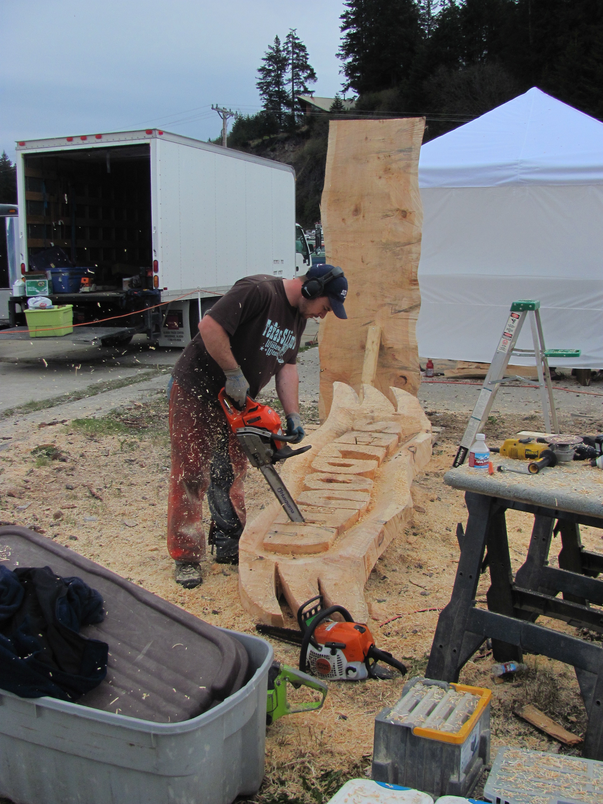 Chainsaw carving gaz peter leadbeater sculptor