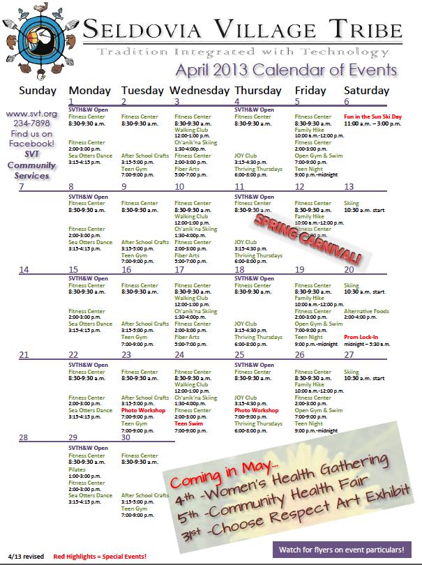 April Calendar Of Events : Svt s april calendar of events seldovia