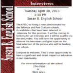 Site Administrator Interviews – Tuesday, April 30th at 3:30pm – YOU are invited!