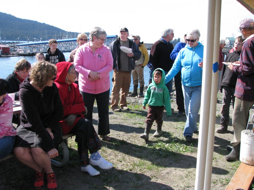 Ellis Lorentz comes front and center to receive the prize for largest king salmon caught. I actually caught it but gave the $100 to Ellis and Holden, the two youngest derby participants