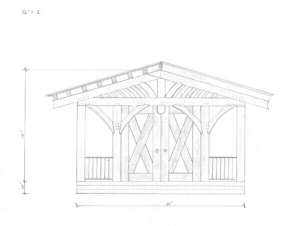 Drawing of front elevation of the new pavilion facing Main Street