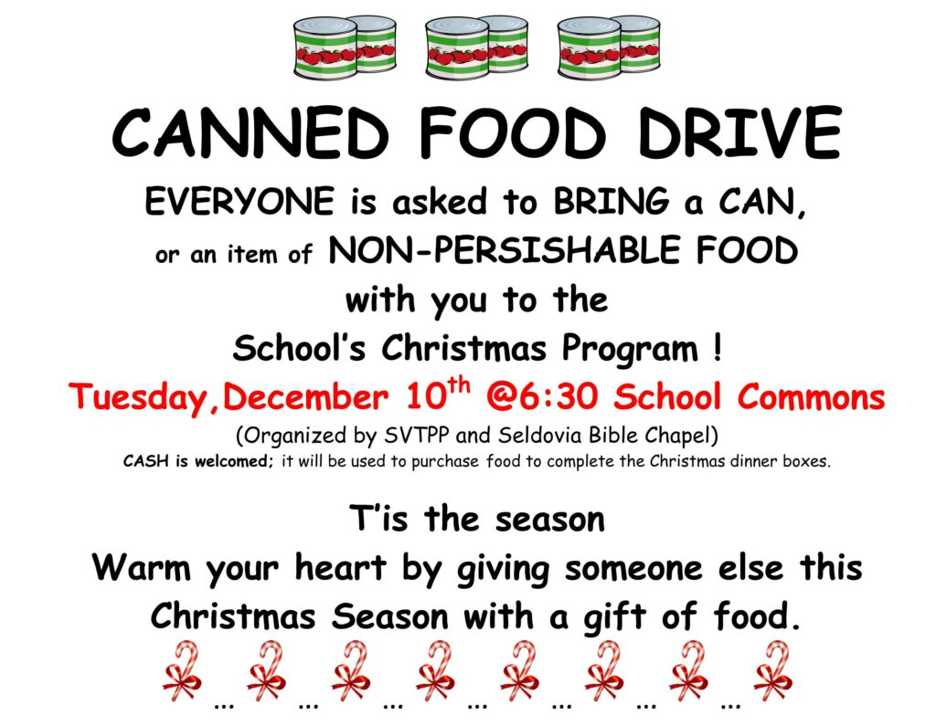 canned food drive bring donations to christmas program tonight