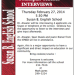 Seldovia Susan B English Principal/Teacher Interviews this Thursday