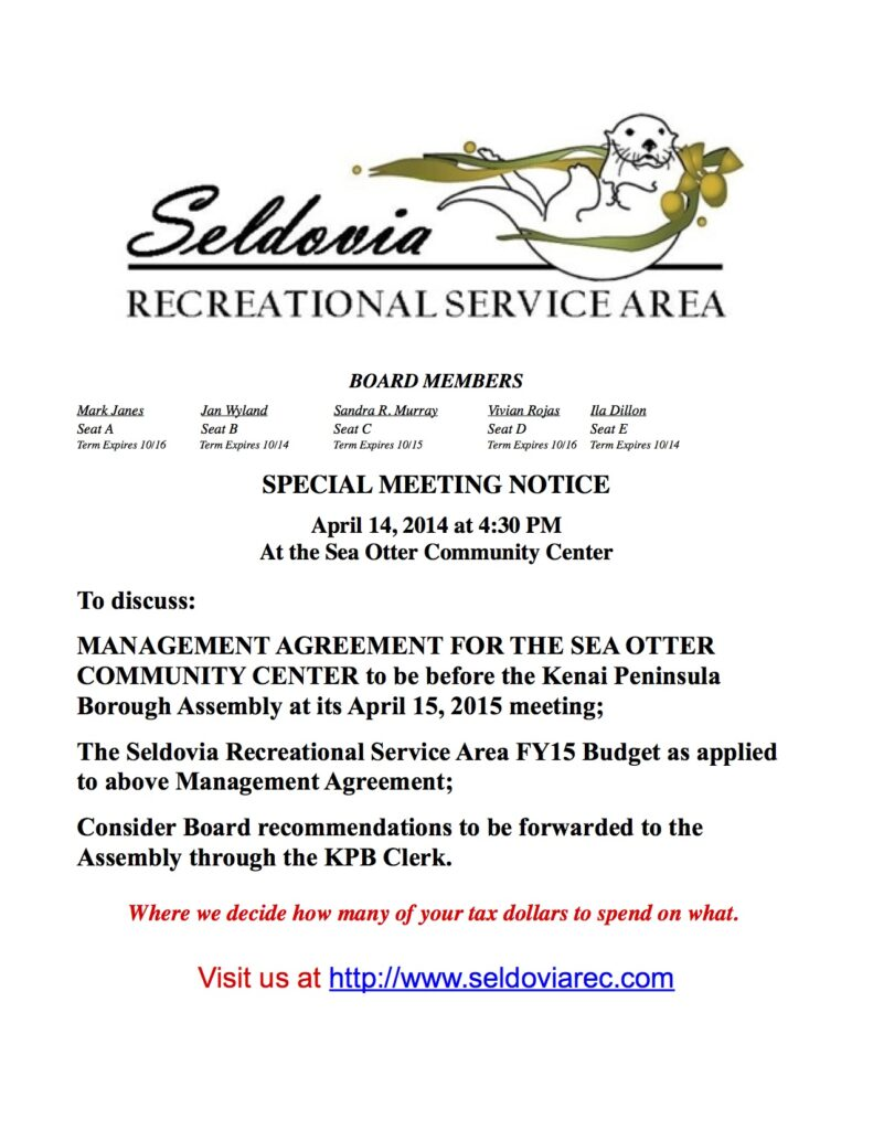 20140414 SRSA Board Special meeting Notice