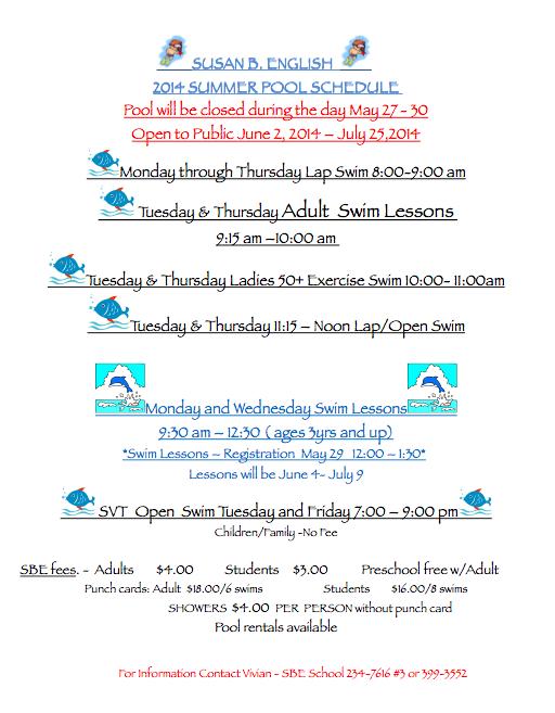 School Summer Pool Schedule