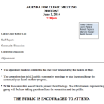 Agenda for Clinic Meeting