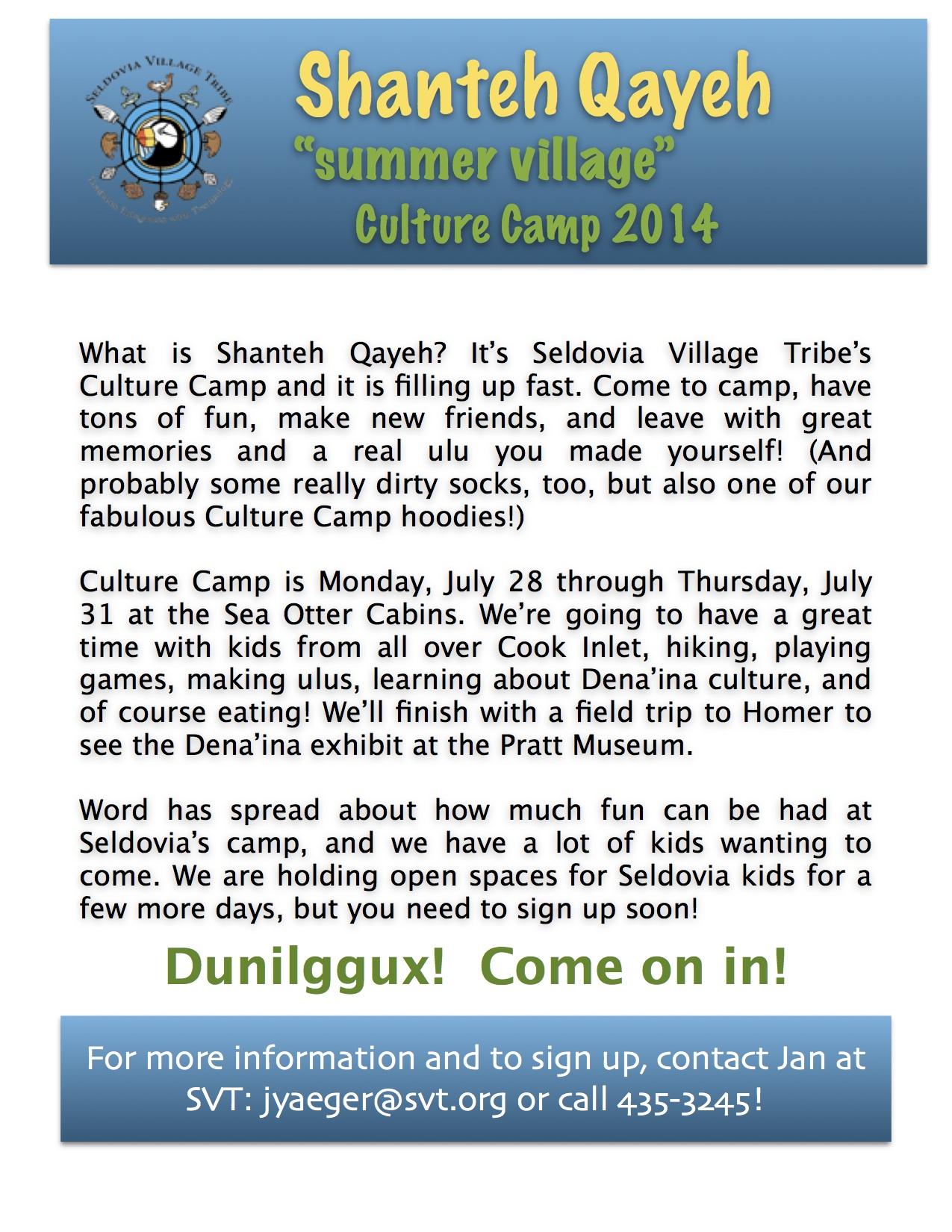 Culture Camp Gazette article