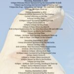 Preliminary Schedule of Events for our Chainsaw Carving Competition over Labor Day Weekend